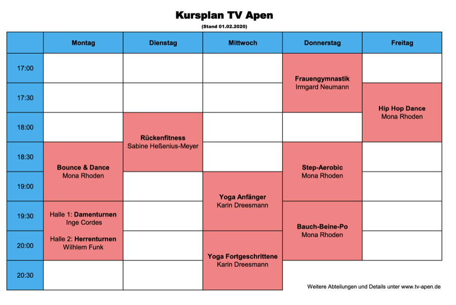Kursplan Fitness TV Apen